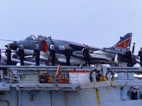 Sea Harrier FRS1 XZ459 leaving Portsmouth on board HMS Hermes bound for the South Atlantic, April 1982