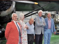Recreating the famous 1943 photo of 5 pick-up pilots at Tangmere are (l-r) Chris McCairns, Jane Verity, Michael Woods (Pickard's nephew) Michael Vaughan Fowler and Simon Rymills.