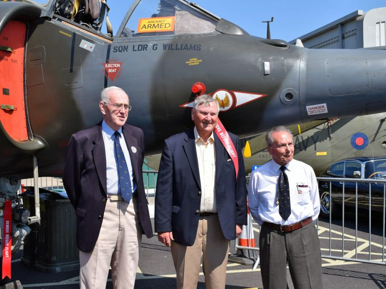 Together again after 50 years. L-R  Mike Adams, Graham Williams and Tom Lecky-Thompson with XV744.