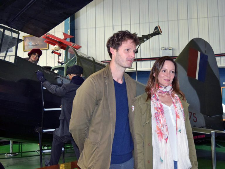 Rupert Young and Rachael Stirling in front of the Museum's Lysander replica